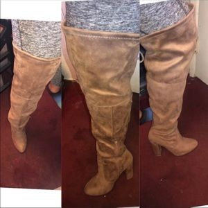 wide width over the knee boots / chunky heel